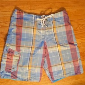 American Eagle Outfitters plaid swim trunks-sz 32